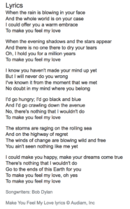 "These are lyrics to the song ""Make you feel my love"" by Bob Dylan"