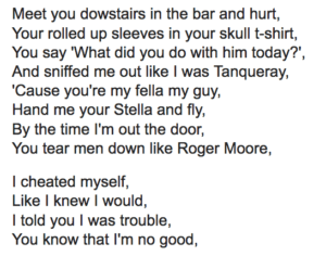 "This is an image of the lyrics to the Amy Winehouse song ""You Know I'm No Good"""