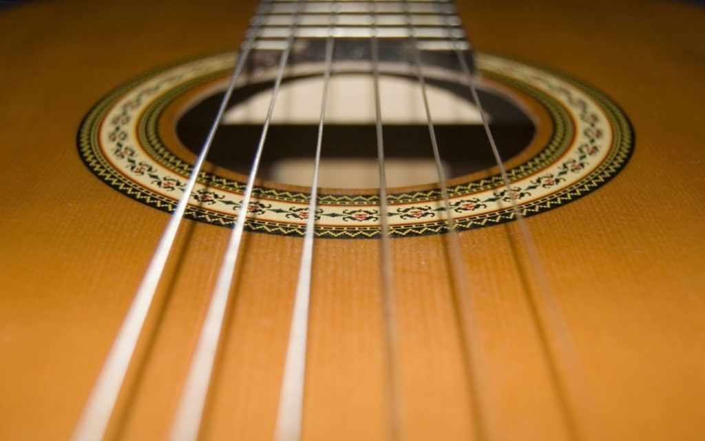 close up of guitar strings