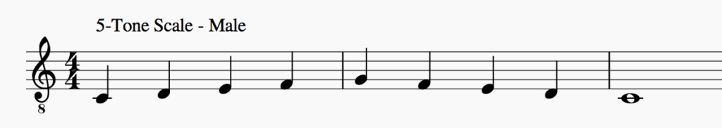 the five tone musical scale for a female