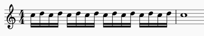 A measure of music showing a vocal trill