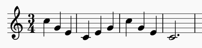 a musical note scale in 3/4 time for females