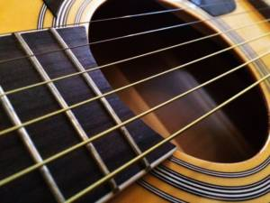 close up of the strings on an acoustic guitar