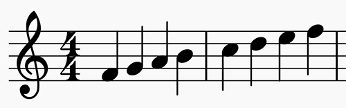 Scale showing Lydian Mode in F in 4:4 time