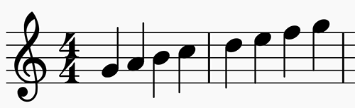 Scale showing Mixolydian mode in G in 4:4 time
