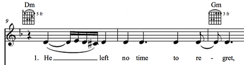 "A measure of music showing the first phrase in ""Back to Black"" by Amy Winehouse."