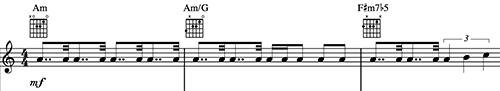 "Three measures of music showing a piano riff from ""While My Guitar Gently Weeps"" by the Beatles."