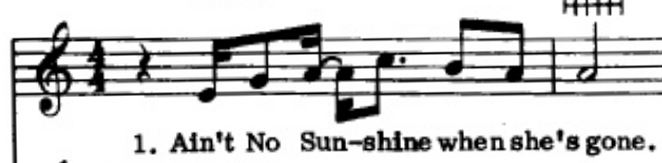 "Sheet music showing the first line of ""Ain't No Sunshine"" by Bill WIthers"