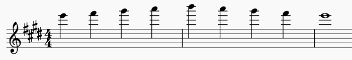 A 5-Tone Major Arpeggio starting on E6.