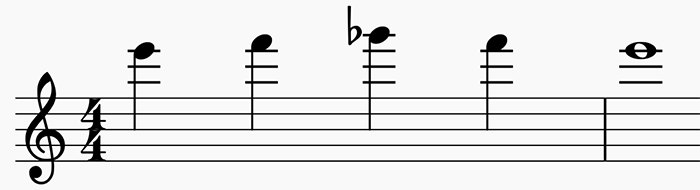 A chromatic scale starting on E6.