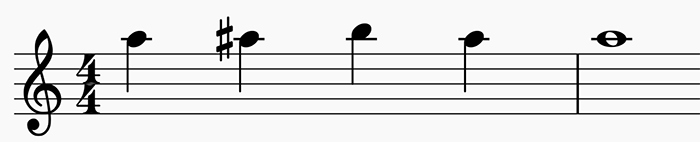 A chromatic scale starting on A5.