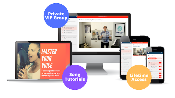 Master Your Voice singing course displayed on multiple devices with private VIP group, song tutorials and lifetime access buttons