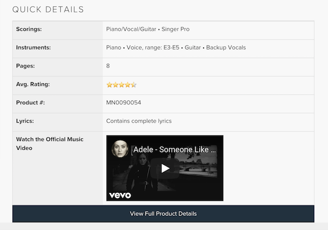 """A screenshot of details for Adele's song """"Someone Like You"""" including range and instruments."""
