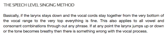 A Description of the Speech Level Singing Method from the website