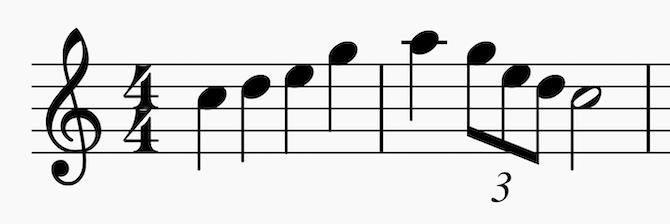 C major pentatonic up to A