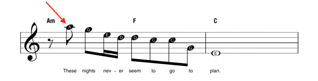 An arrow pointing to a high note
